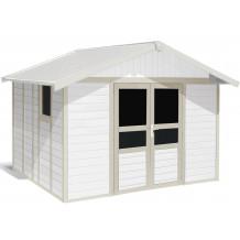 Basic Home Gartenhaus 11 m² Weiss - grün_Grau