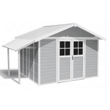 Lodge Gartenhaus hellgrau 11 m²