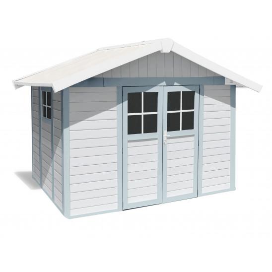 Déco Gartenhaus 7,5 m2 weiß - Graublau