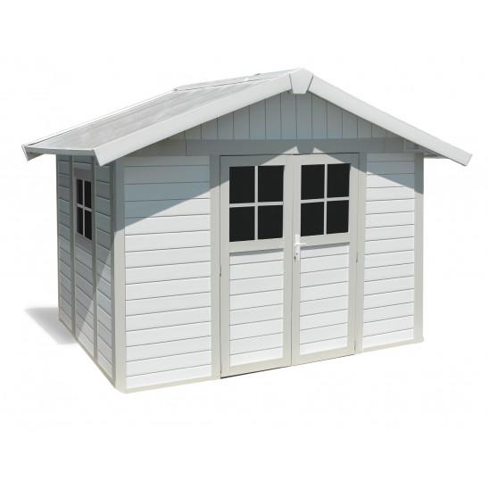 Déco Gartenhaus 7,5 m2 weiß - Grüngrau
