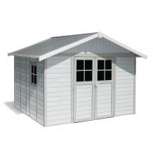 Deco Gartenhaus 11 m² weiß - Grüngrau